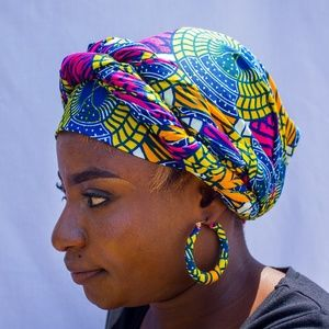 Matching Blue African Head Wrap & Small Earrings
